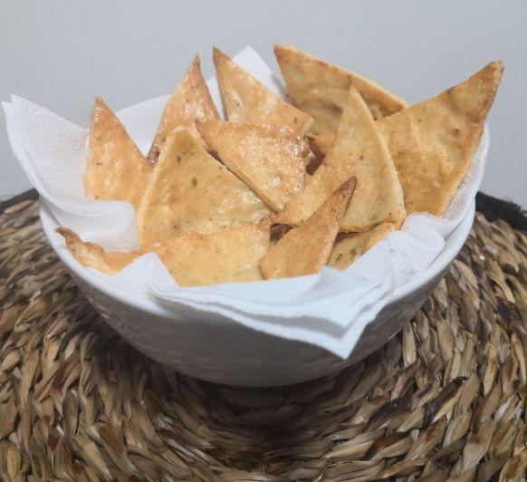Nachos de pollo.. Snack sencillo y saludable
