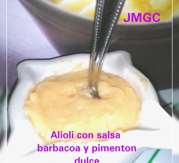 ALIOLI CON SALSA BARBACOA Y PIMENTON DULCE